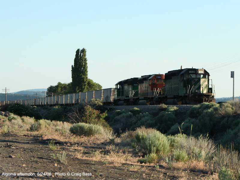A northbound BNSF train waits in the siding at Algoma, Oregon, for a southbound train.