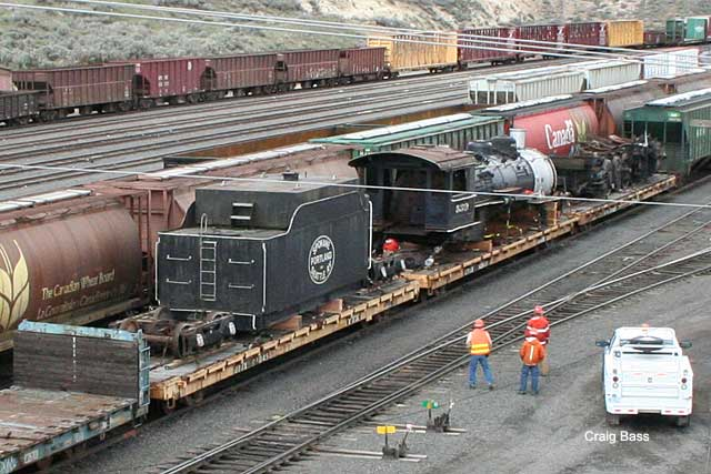 SP&S locomotive passing through Klamath Falls on its way to new owners